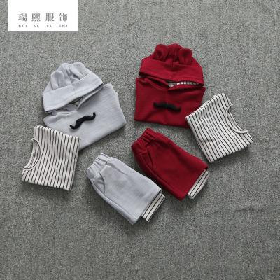 2018春秋款儿童童装 中小童婴幼儿纯棉长袖三件套童装 厂家批发