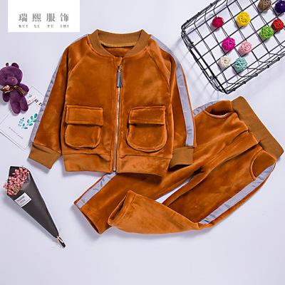 儿童金丝绒保暖套装 加厚卡通口袋套装外套 休闲运动套装 可批发