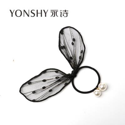 【独特原创设计款】H金丝网耳朵珍珠挂珠发绳皮筋