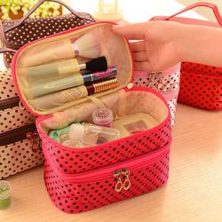 【促销活动价】时尚女包新款韩国潮流化妆包椭圆形手提防水双层便携收纳包 bag082