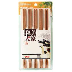 优厨坊竹筷子家用竹木筷子家庭套装防霉天然竹子无漆筷子10双装7066