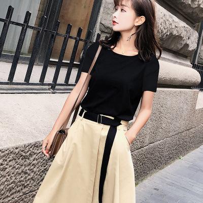 2018夏季新款韩版休闲短袖T恤高腰半身裙两件套F5068
