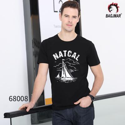 bagjmar 夏季短袖t恤男装圆领潮流修身半袖上衣纯棉打底体恤服装 68008