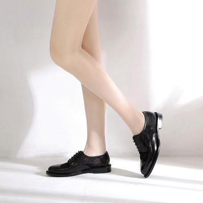 摩凡熙 时尚潮流个性英伦风胎牛皮蕾丝透气单鞋系带女鞋 M1835-9