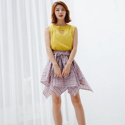 2018日韩新款时尚不规则格子半身裙 YHS008