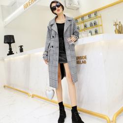 琦豪服饰 格子灰色长款风衣外套 LW201801