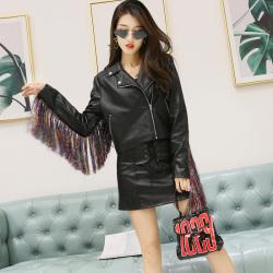 琦豪服饰 黑色蝙蝠袖皮外套 LW201807