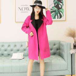 琦豪服饰 粉色呢料大衣 LW201808
