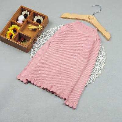 爱康童装 电脑机下摆,袖口,领位绣花边纯色半高领打底毛衫女童 3010