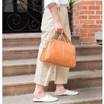 金威 时尚手提单肩斜跨大容量头层牛皮包6919
