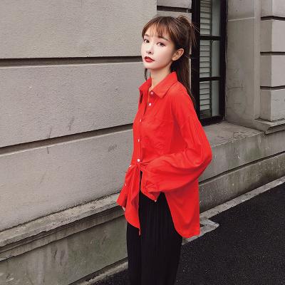 2018初秋新款韩版宽松开叉bf衬衫防晒开衫上衣女 F5173