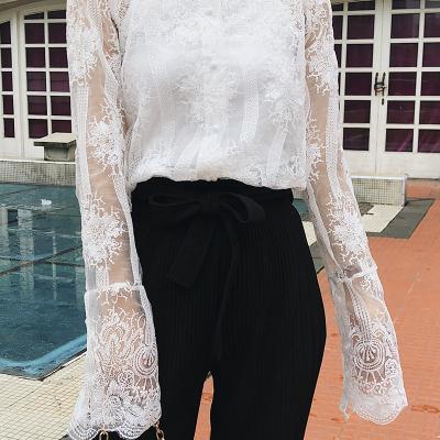 2018初秋新款女装一字肩蕾丝衫吊带衫两件套装 F5177