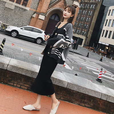 秋冬季长袖针织衫2018新款宽松开衫毛衣女外套 F5189