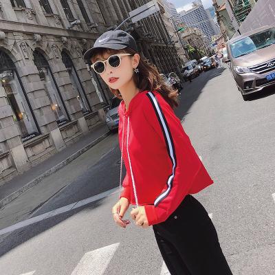 2018秋冬韩版新款条纹长袖连帽卫衣女装休闲上衣 F5203