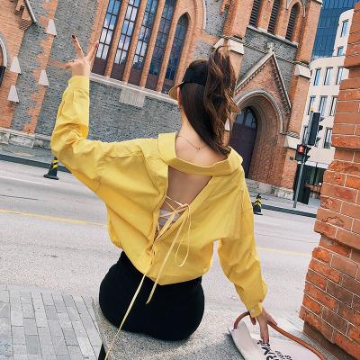 2018初秋新款韩版性感系带漏背翻领长袖衬衫女 F5208
