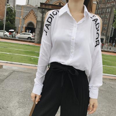 2018初秋新款翻领露肩宽松百搭长袖防晒衬衫女 F5184