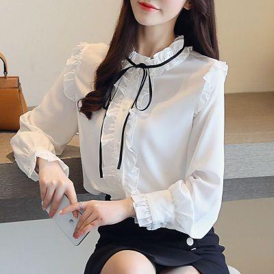 琴之云裳 花边气质绑带优雅衬衫雪纺衫 6329
