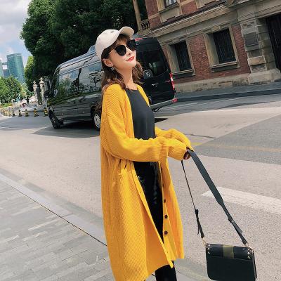 2018新款秋季针织衫中长款宽松开衫女修身毛衣女 F5197