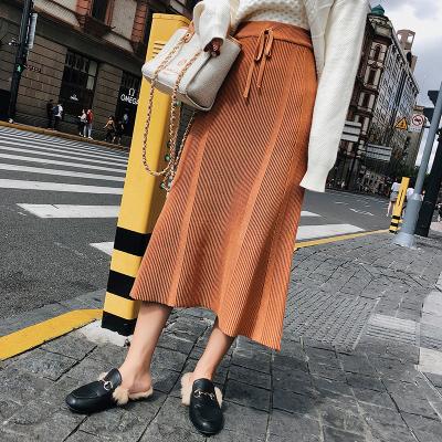 2018新款秋冬季韩版高腰休闲包臀针织裙半身裙女 F5210