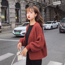 2018秋装新款韩版宽松百搭开衫灯笼袖毛衣针织衫 F5219