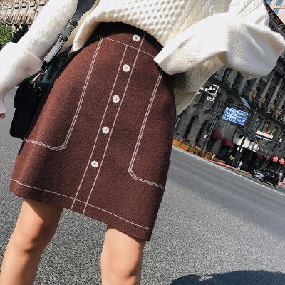2018秋冬新款韩版修身包臀高腰中裙针织半身裙女 F5211