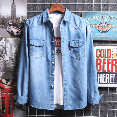 2018年 秋冬新款牛仔衬衫男长袖秋季韩版修身薄衬衣帅气潮流休闲外套 C6001