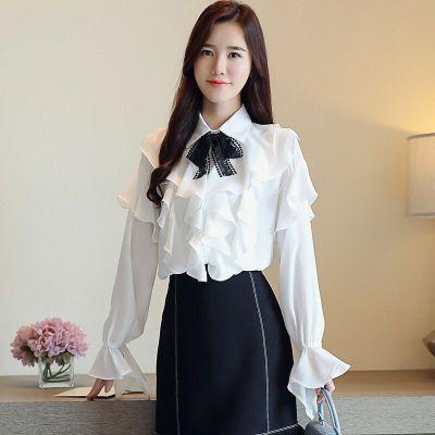 琴之云裳 韩版气质优雅甜美蝴蝶结雪纺衬衫 6330