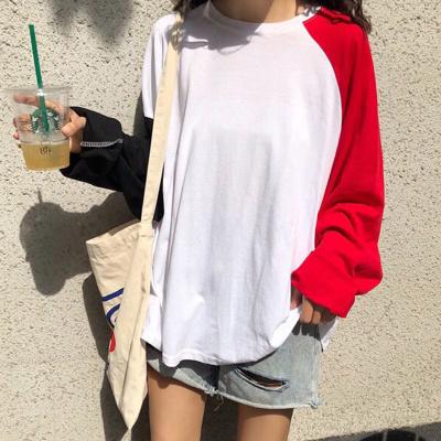 2018秋新款韩系宽松袖子不规则撞色长袖T 8012