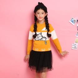 爱康童装 电脑机绣小猫睡觉半高领套头女童-大童 1242
