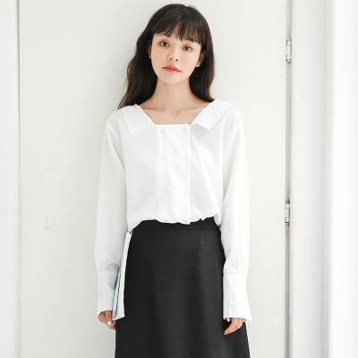 花楒伊 秋装新款长袖方领纯色衬衫 8331