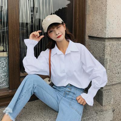 恩黛 秋季韩版新款白色chic宽松弹性喇叭袖衬衫女 F5226