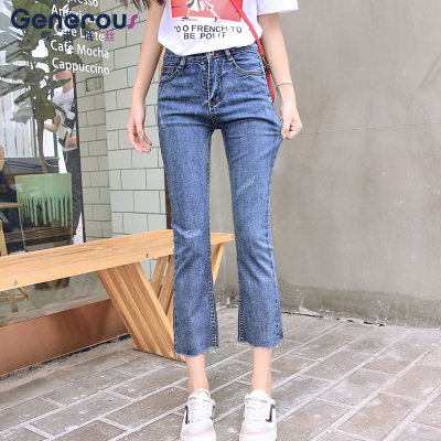 歌诺瑞丝 2018年秋款韩版修身显瘦弹力牛仔裤女BM A137-98523