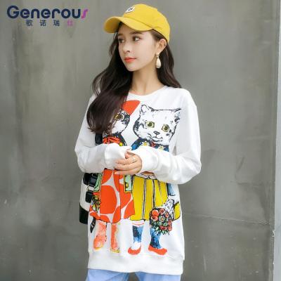 歌诺瑞丝 2018年秋款猫咪图案卫衣女慵懒套头长袖薄款印花百搭宽松上衣 NR 2F A67-C-5538