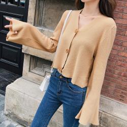 恩黛 慵懒风毛衣外套2018秋装新款韩版宽松短款针织衫 F5261