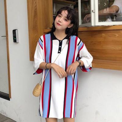 连连兔 韩版秋季拼接条纹polo领针织连衣裙 8006