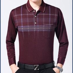 中年男士长袖t恤中老年人男装polo衫40-50岁大码爸爸装秋装