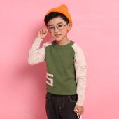 爱康童装 拼色袖子五号绣花圆领套头男童小童装 1269