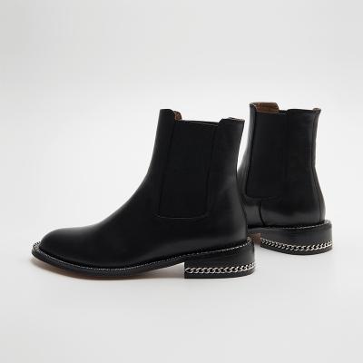 氧气时代 秋冬切尔西短靴真皮中跟女鞋粗跟女靴子 QEX-1801