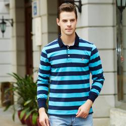 商务休闲修身型男式间条纯棉长袖polo衫