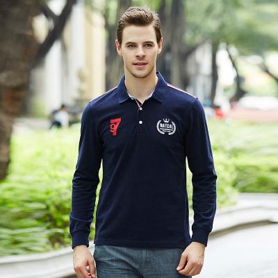 商务休闲修身型男式刺绣纯棉长袖polo衫
