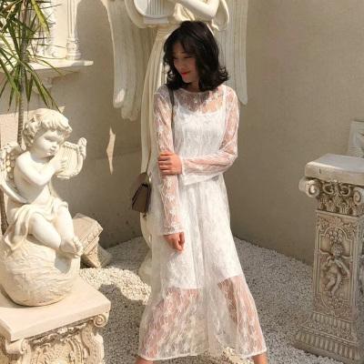 LD服饰 2018秋季款圆领长袖两件套套装蕾丝女神长款连衣裙 9302