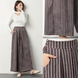 外贸灰紫色竖条纹灯芯绒阔腿长裤   662