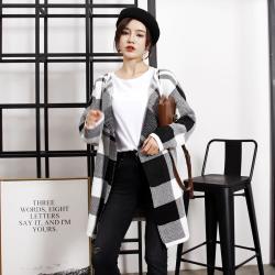 春秋日韩新款女装黑白间格毛衣针织开衫外套 YHO026