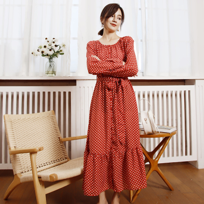 日韩波点长袖休闲时尚连衣裙 YHO030