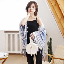 【买一送一】秋冬日韩条纹针织流苏披肩毛衣 YHT025