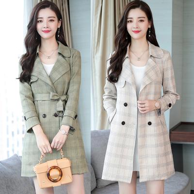 烨柬 实拍格子风衣女中长款2018新款韩版气质鹿皮绒女式外套潮 5822