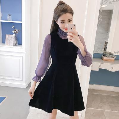 2018新款女装秋装小香风背带两件套甜美丝绒套装900