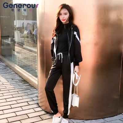 歌诺瑞丝 2018年秋冬新款两件套装时尚修身显瘦拼色棒球服外套女  GT 4F 466-C-8086