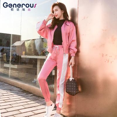 歌诺瑞丝 2018年秋冬新款两件套装时尚修身显瘦拼色棒球服外套女 GT 4F 466-C-8088