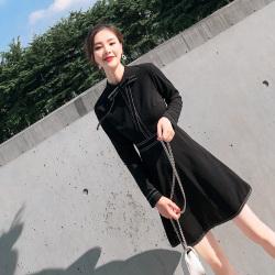 布桂坊 韩版时尚连衣裙 黑色 5215